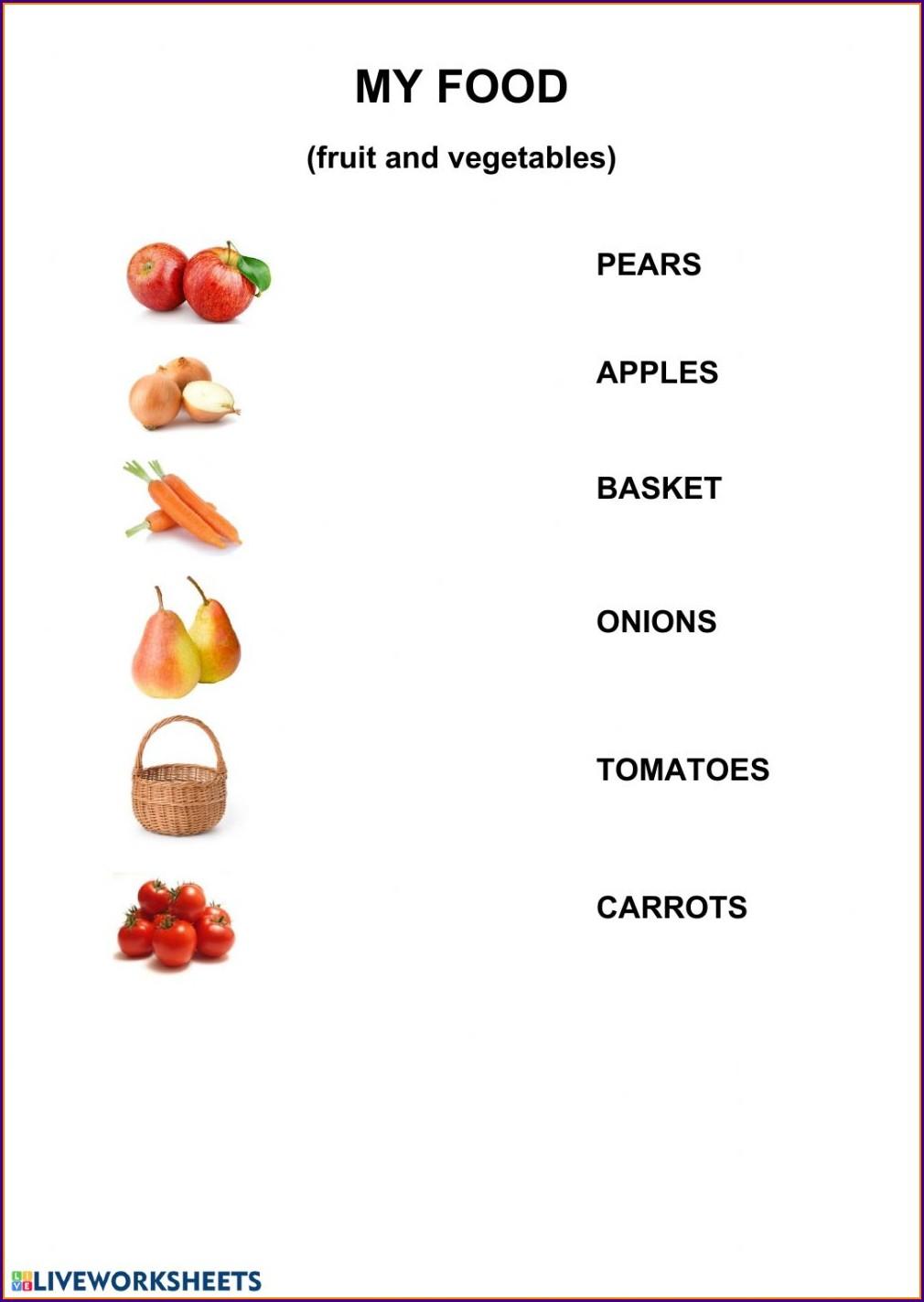Food Worksheet 1st Grade