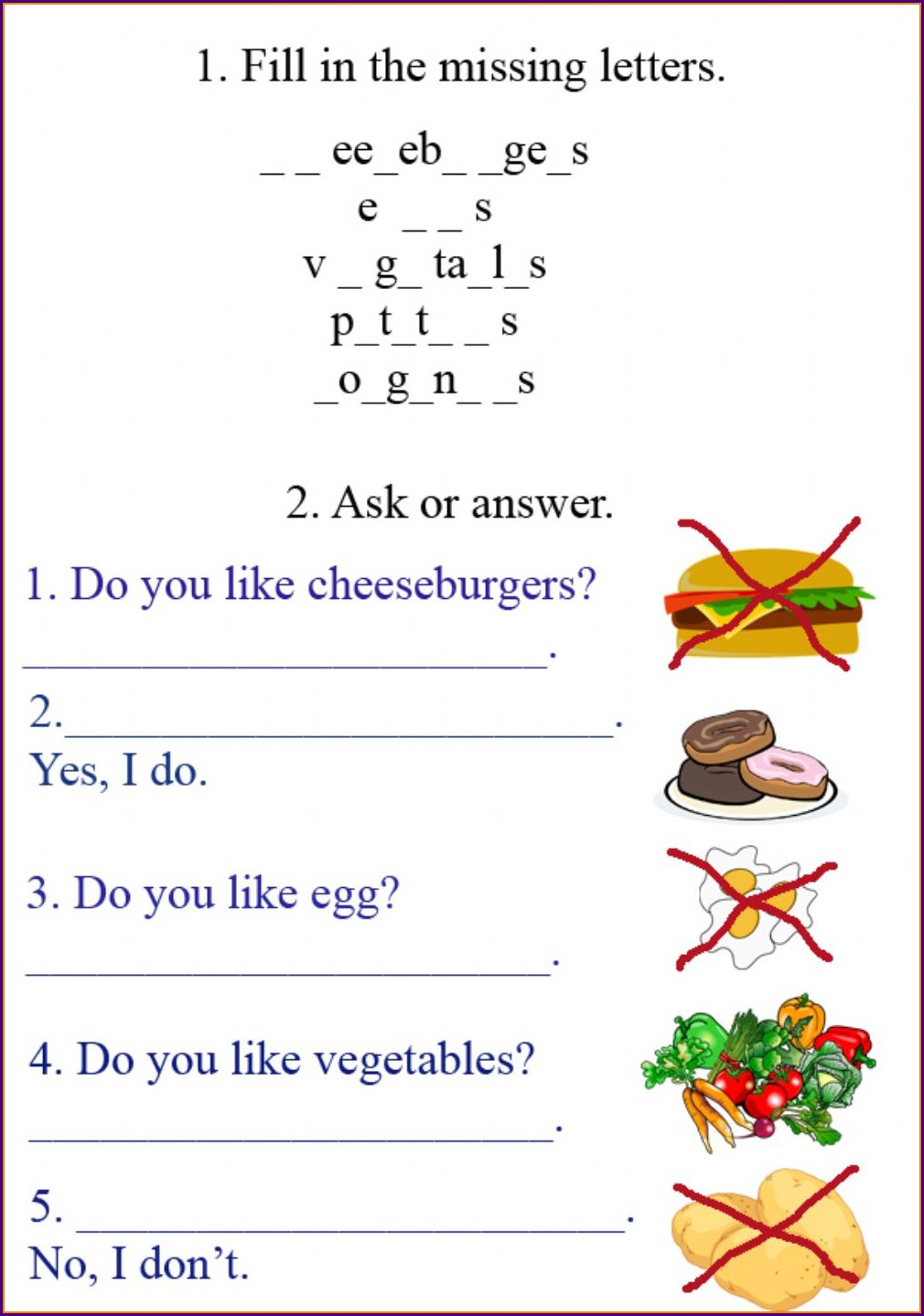 Food Worksheet Grade 3