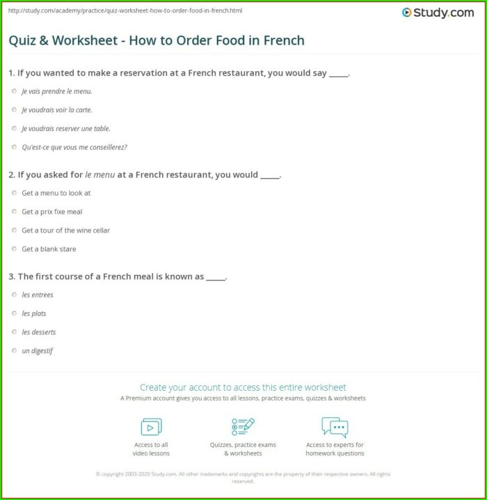 Food Worksheet In French