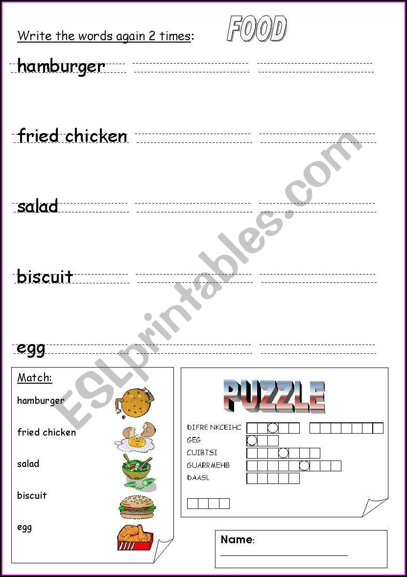 Food Worksheets For Young Learners