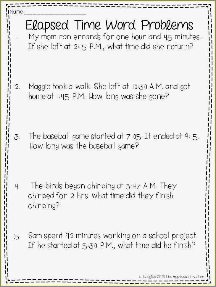 Fourth Grade 4th Grade Elapsed Time Worksheets Grade 4