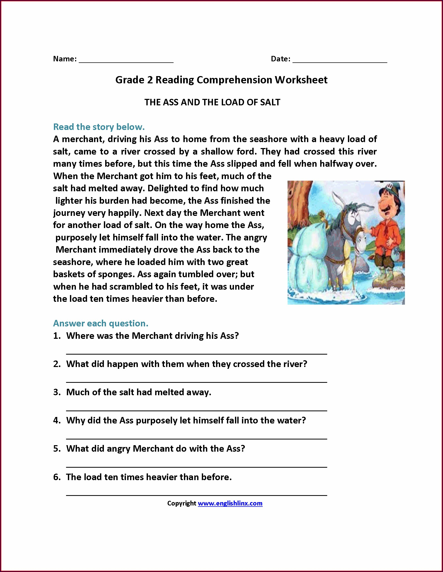 Third Grade Grade 5 English Comprehension Worksheets