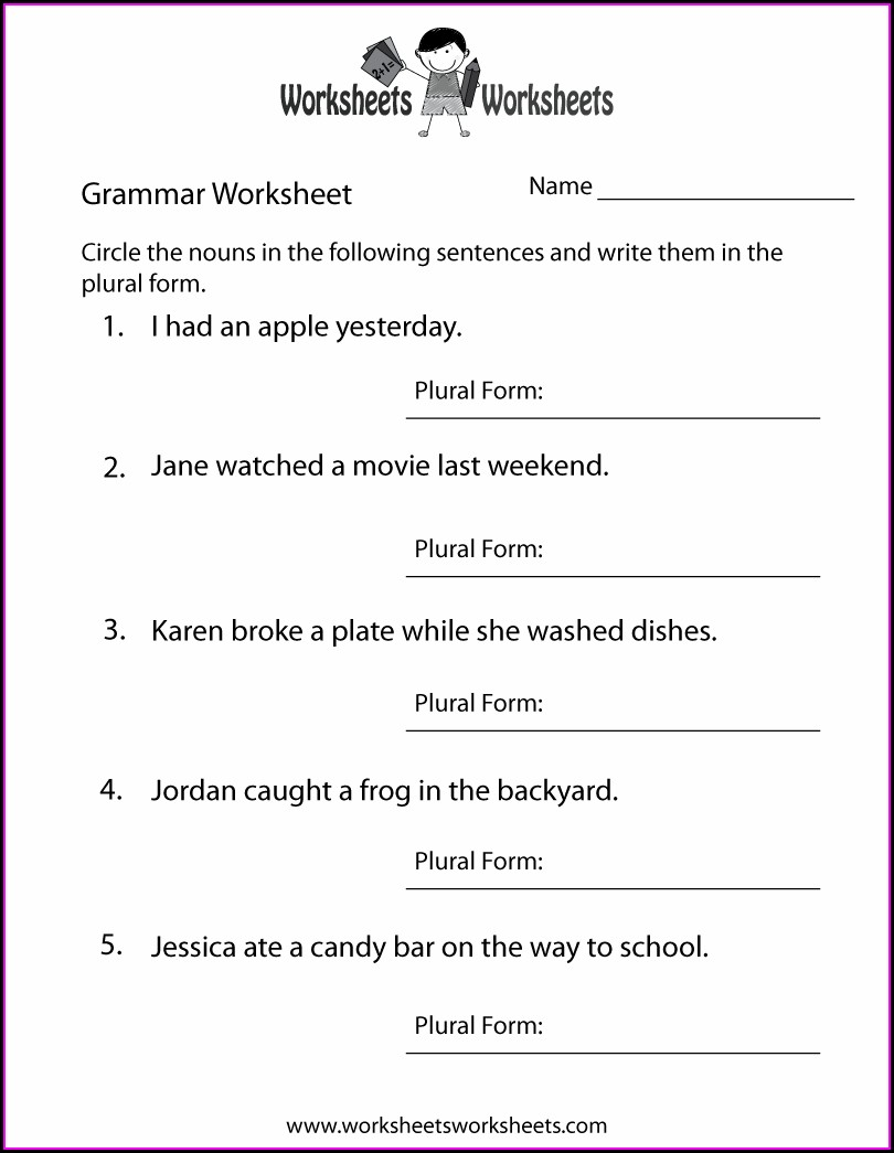 Fourth Grade English Grammar Worksheets For Grade 4 Pdf
