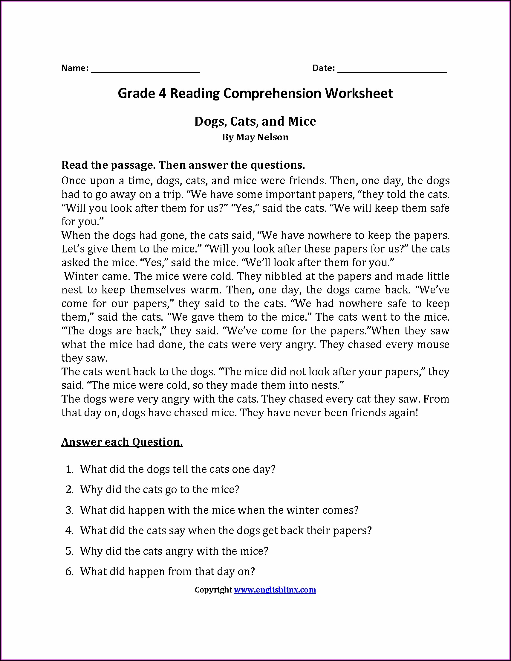 Fourth Grade English Worksheets For Year 4