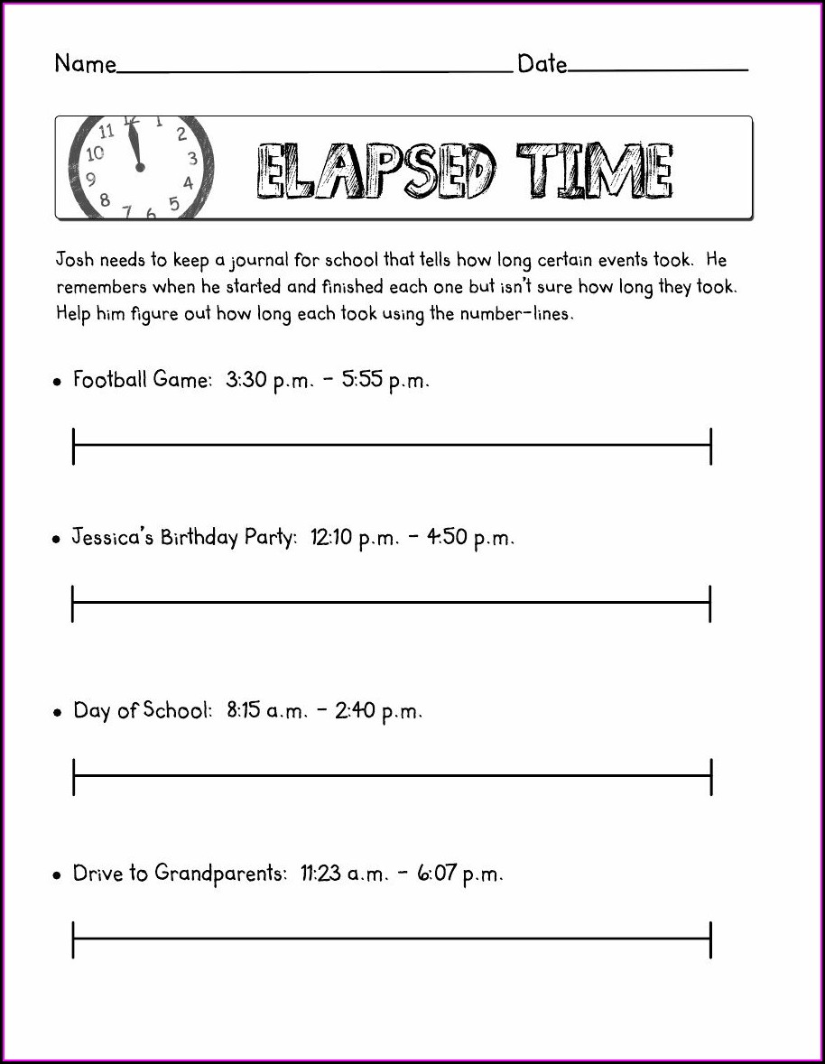 Fourth Grade Math Time Worksheets