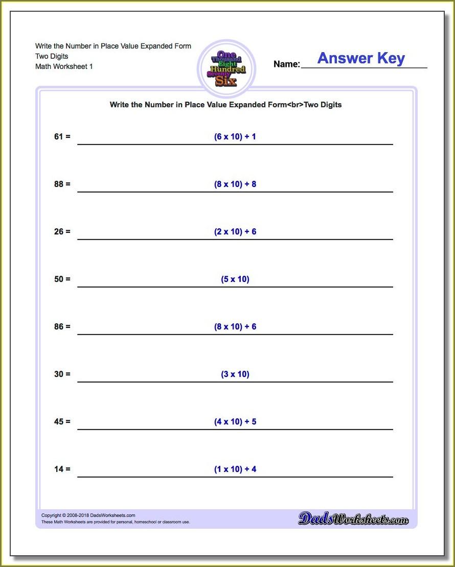 Fourth Grade Math Worksheets Standard Form