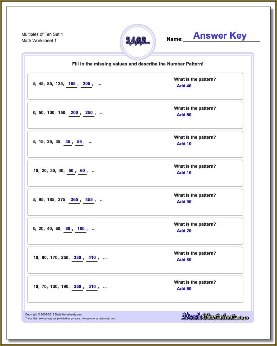 Fourth Grade Number Pattern Worksheet