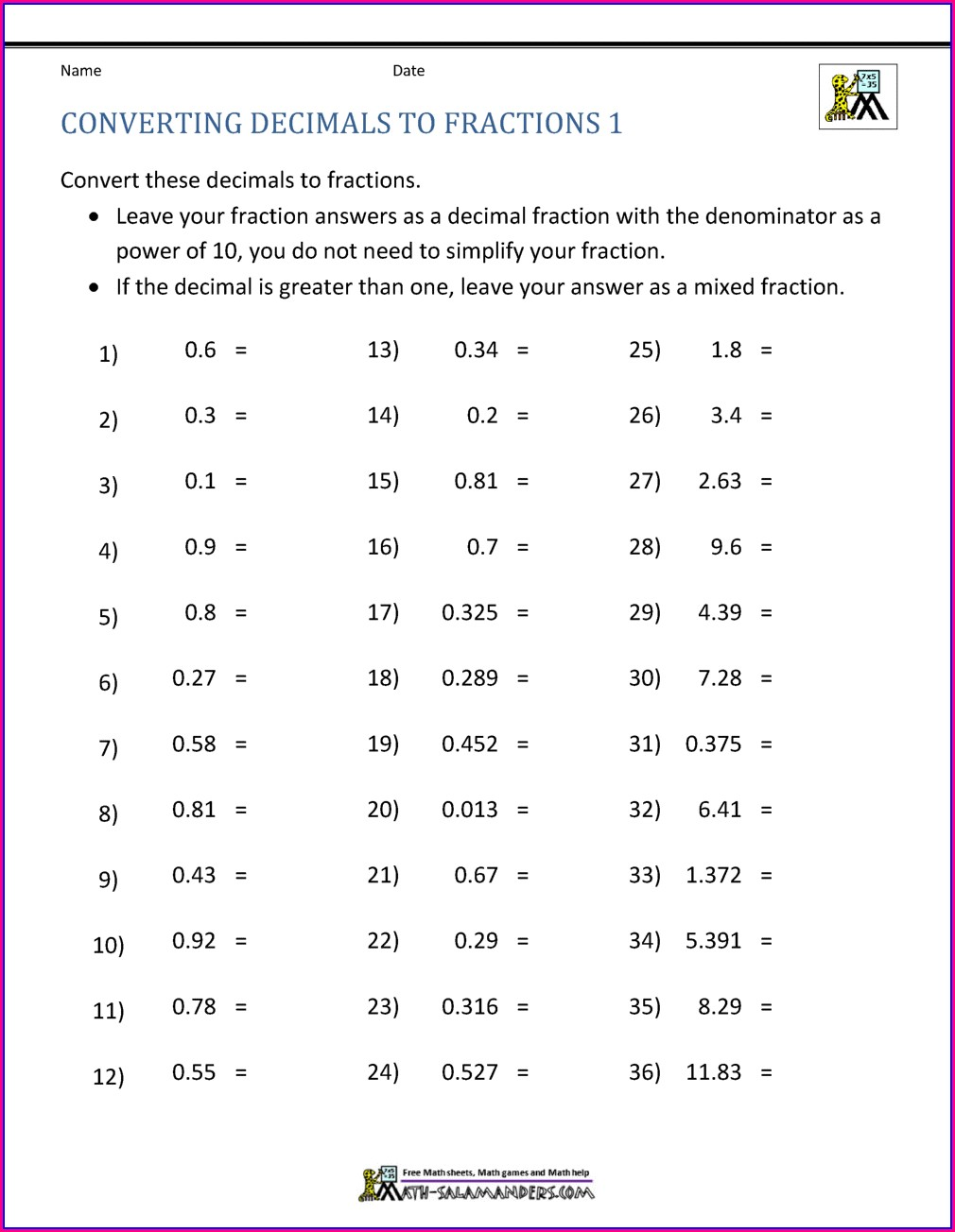 Fraction To Decimal Worksheet Grade 5