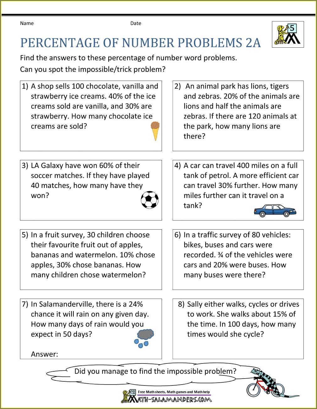 Fractions Decimals And Percents Word Problems Worksheets