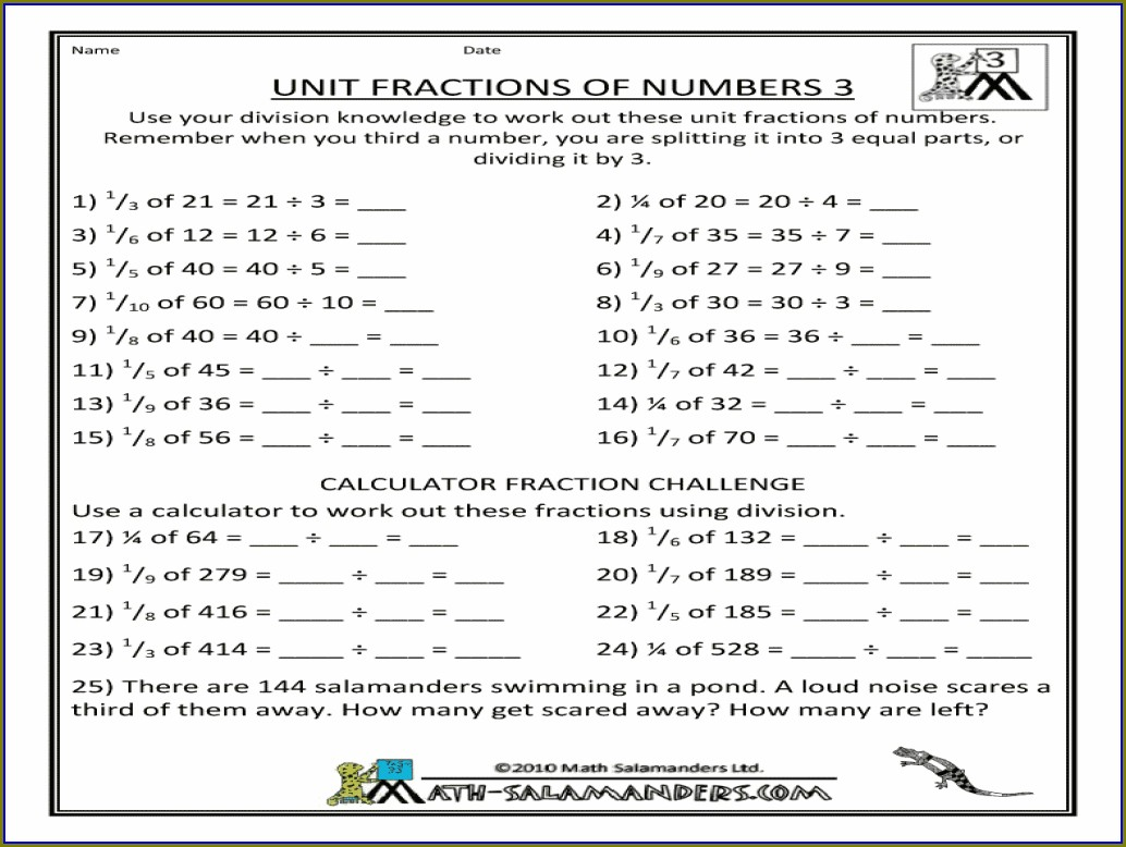 Fractions Of Numbers Worksheet