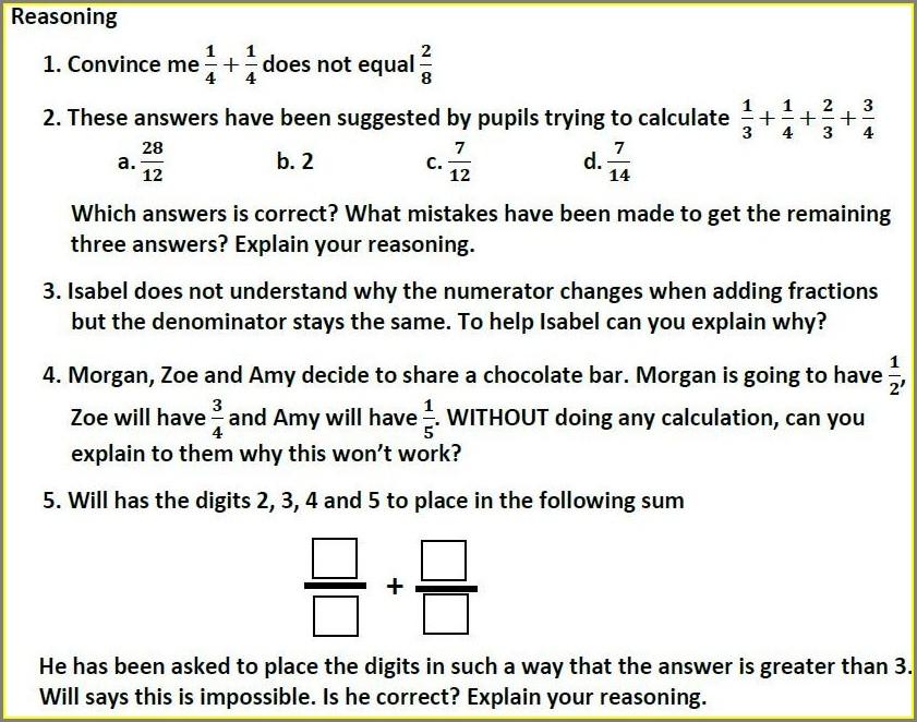 Fractions Problem Solving Worksheets