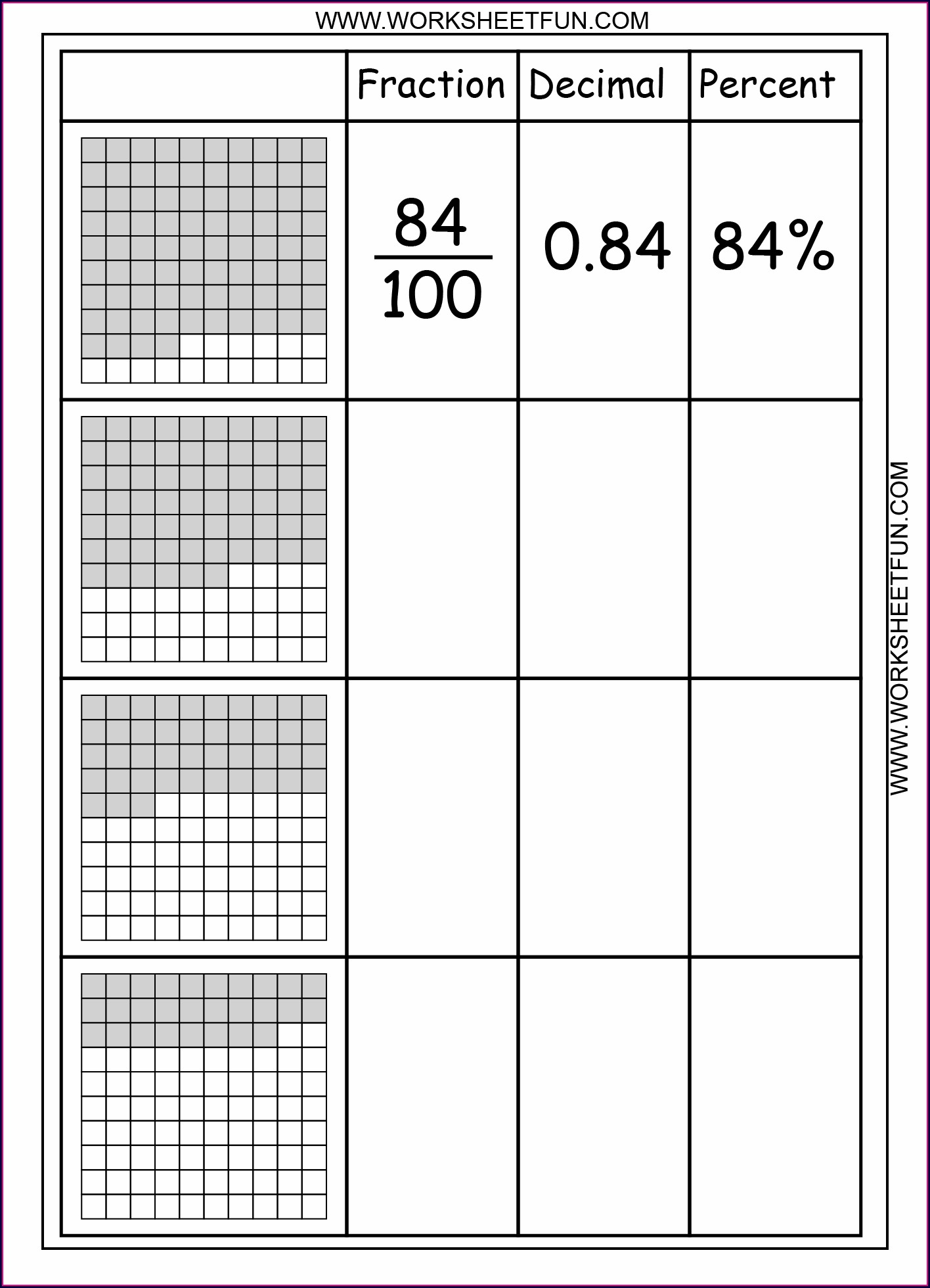 Fractions Worksheet For Year 3