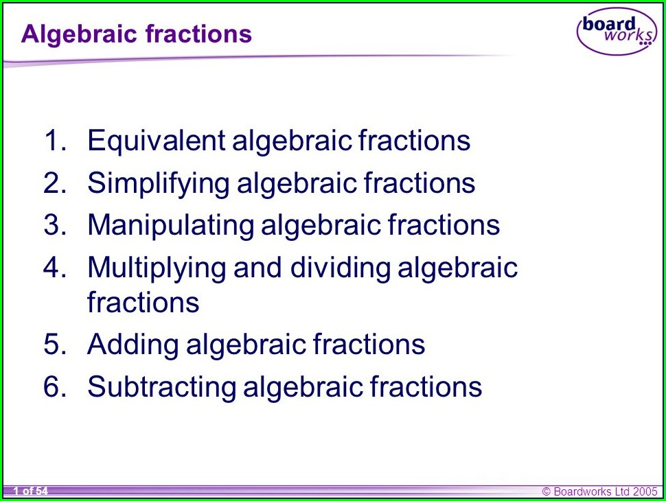 Fractions Worksheet Year 10