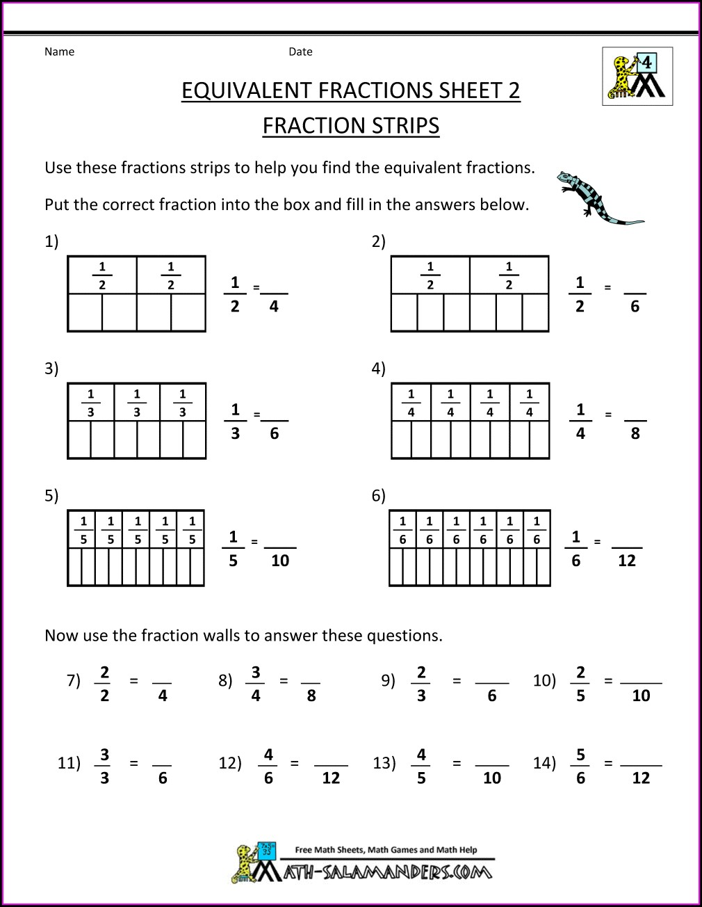 Fractions Worksheet Year 3