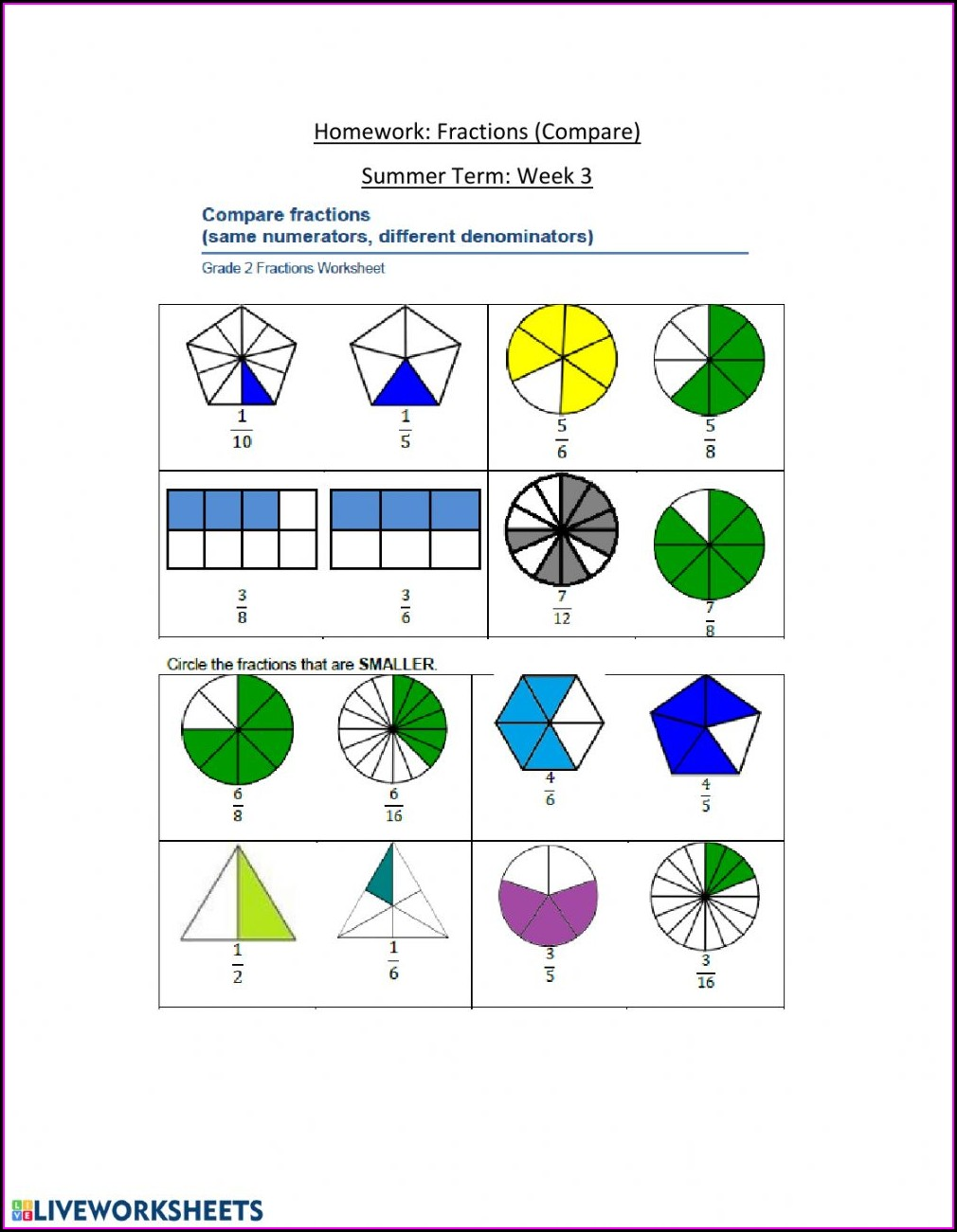 Fractions Worksheet Yr 2