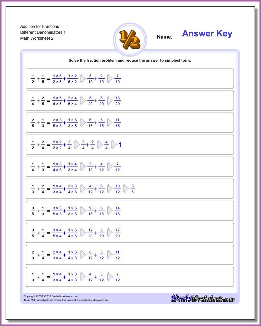 Fractions Worksheets Different Denominators