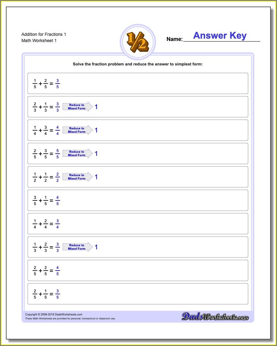Fractions Worksheets Ks3 With Answers
