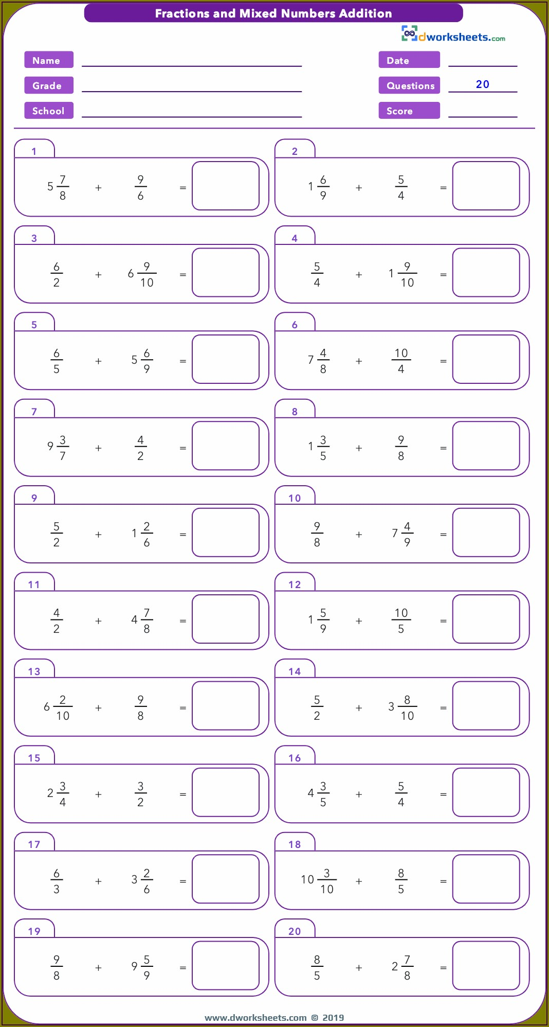 Fractions Worksheets With Mixed Numbers