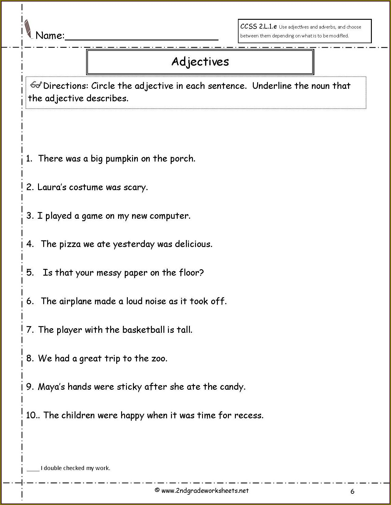 Free Adjectives Worksheets For Second Grade