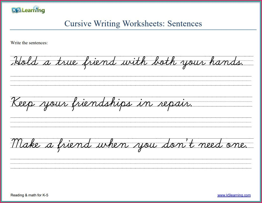 Free Cursive Writing Sentences Worksheets Pdf