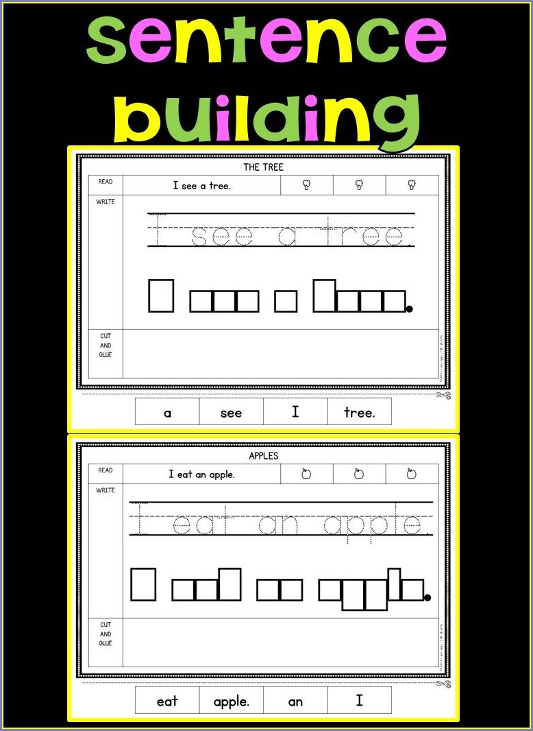 Free Kindergarten Writing Sentences Worksheets
