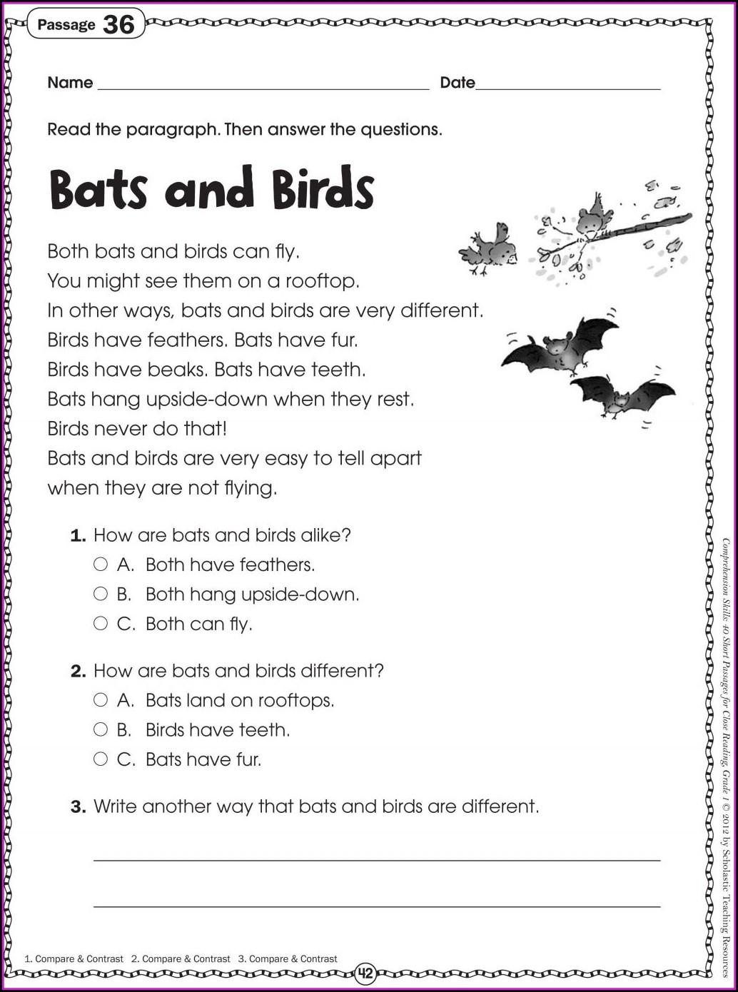 Free Printable 2nd Grade Comprehension Worksheets