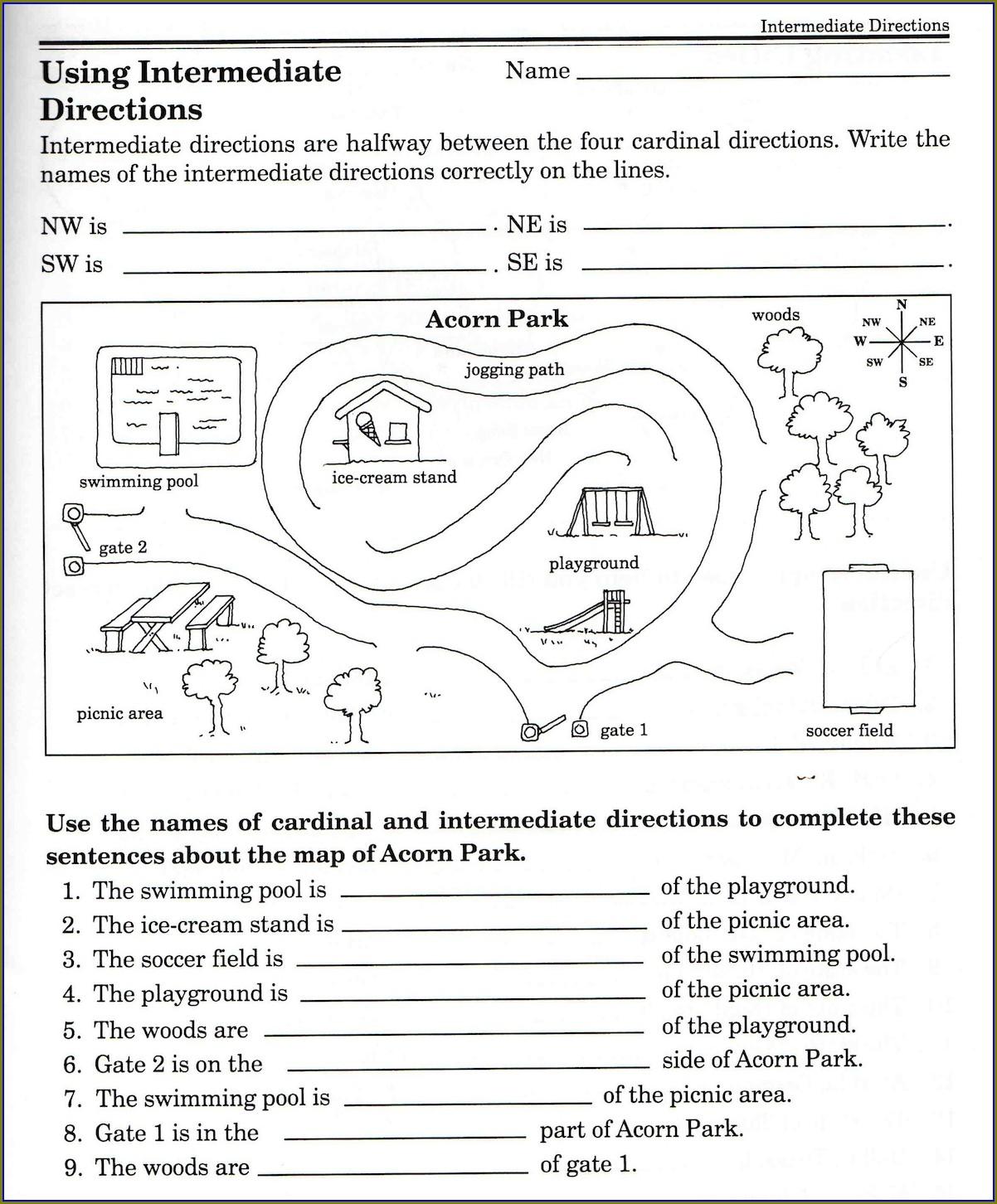 Free Printable Cardinal Directions Worksheet
