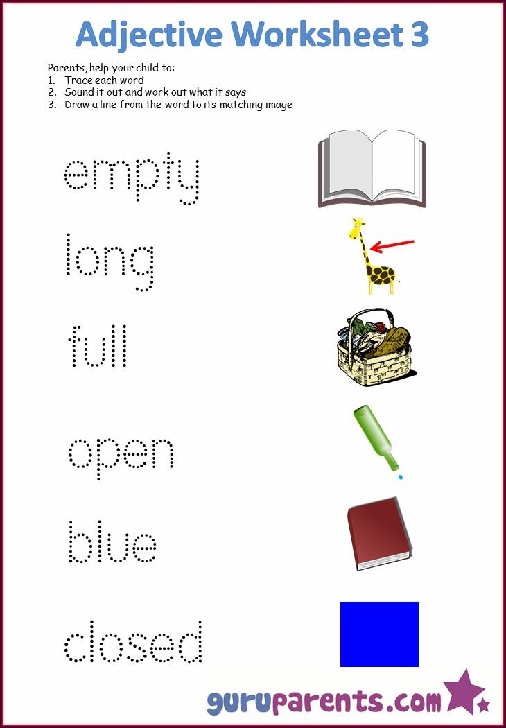 Free Printable Describing Words Worksheet For Kindergarten