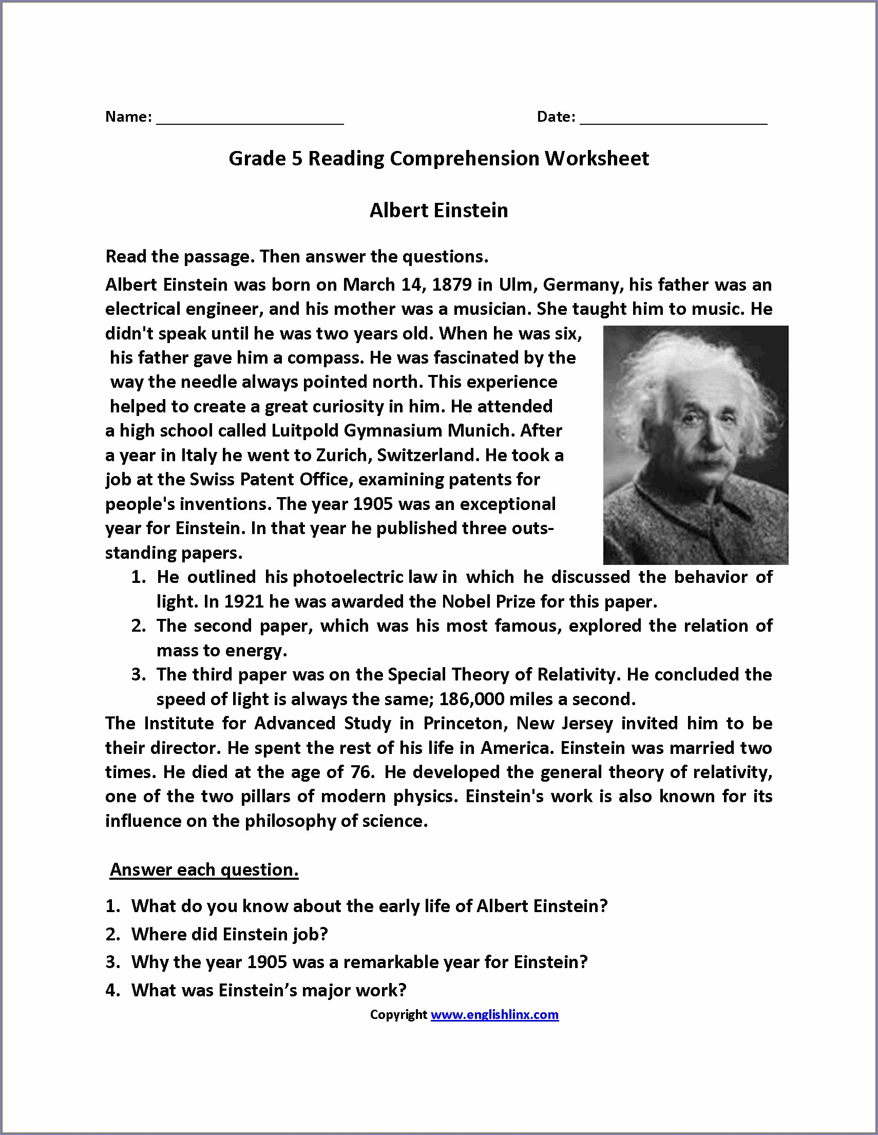 Free Printable English Comprehension Worksheets For Grade 5