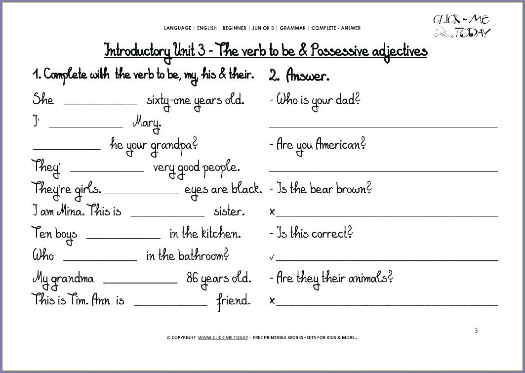 Free Printable English Grammar Worksheets For Grade 5 With Answers