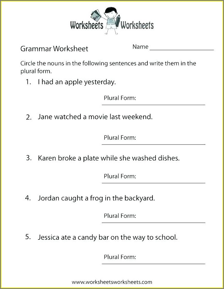 Free Printable First Grade English Worksheets