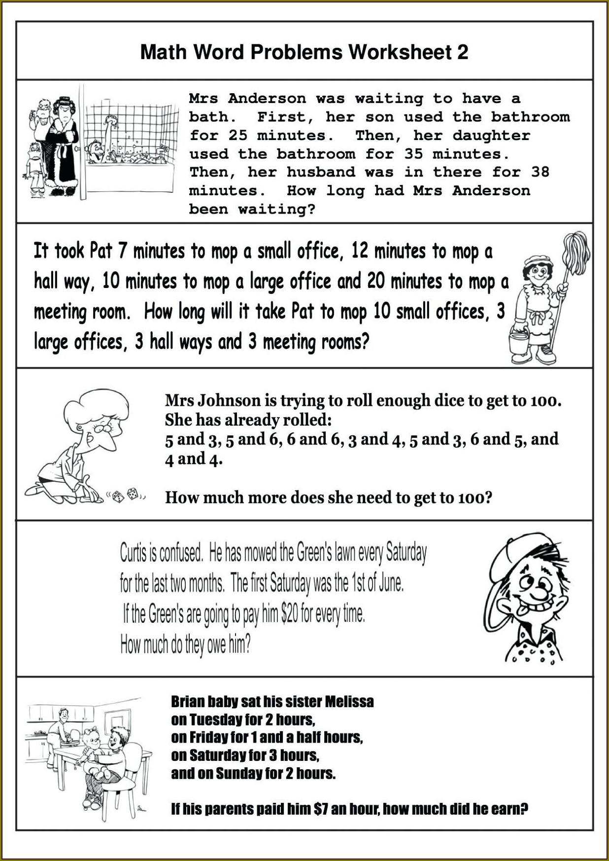 Free Printable First Grade Math Word Problems Worksheets