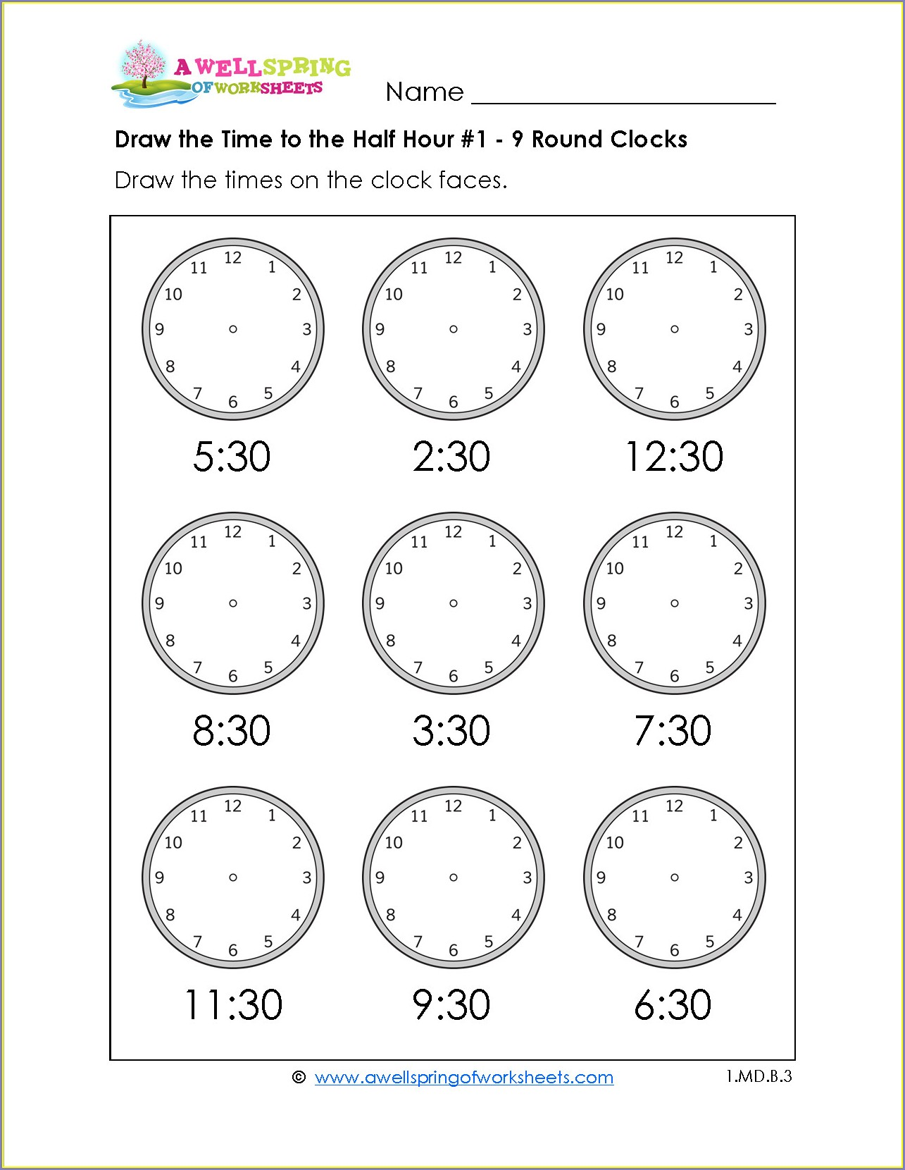 Free Printable First Grade Telling Time Worksheets