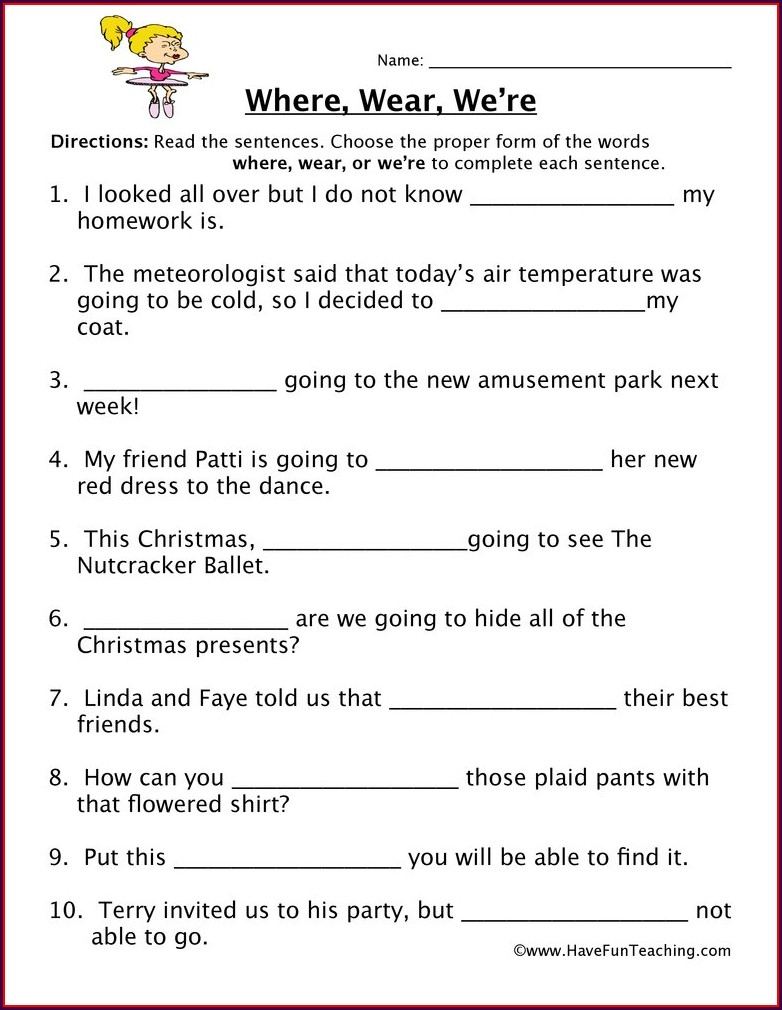 Free Printable Homophone Worksheets 5th Grade