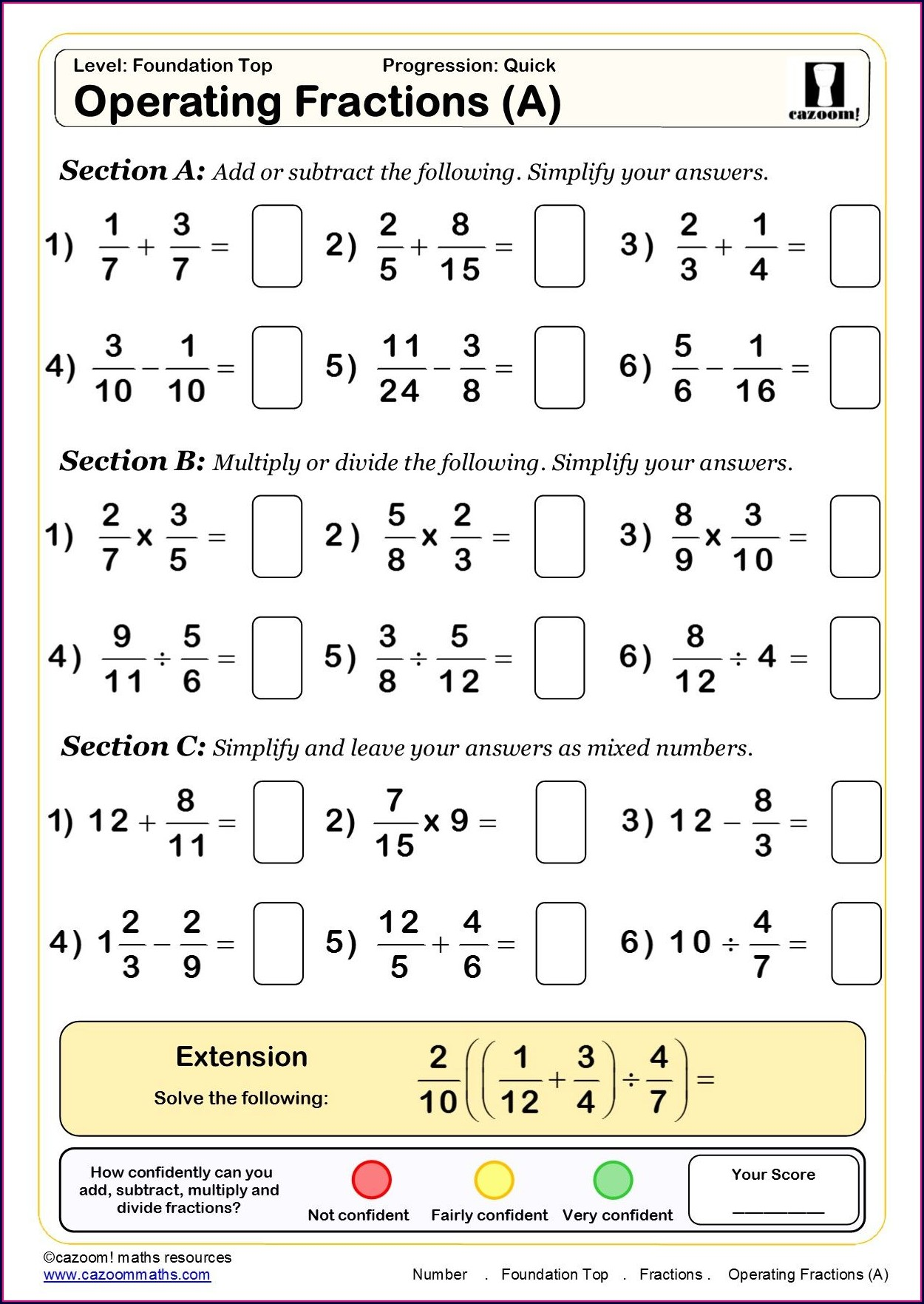 Free Printable Math Worksheets For Grade 5 Fractions