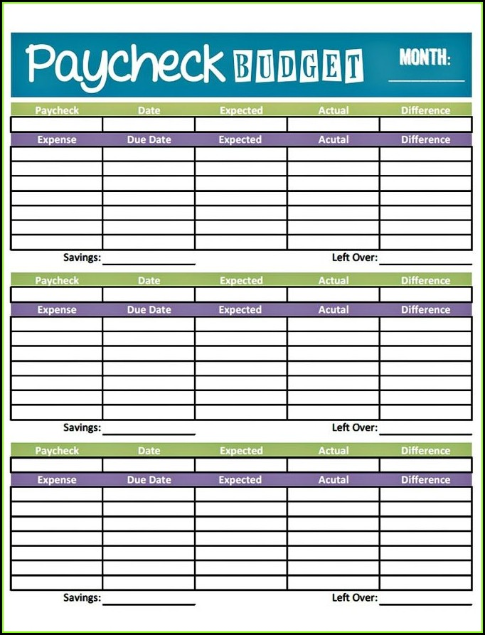 Free Printable Paycheck Budget Worksheet