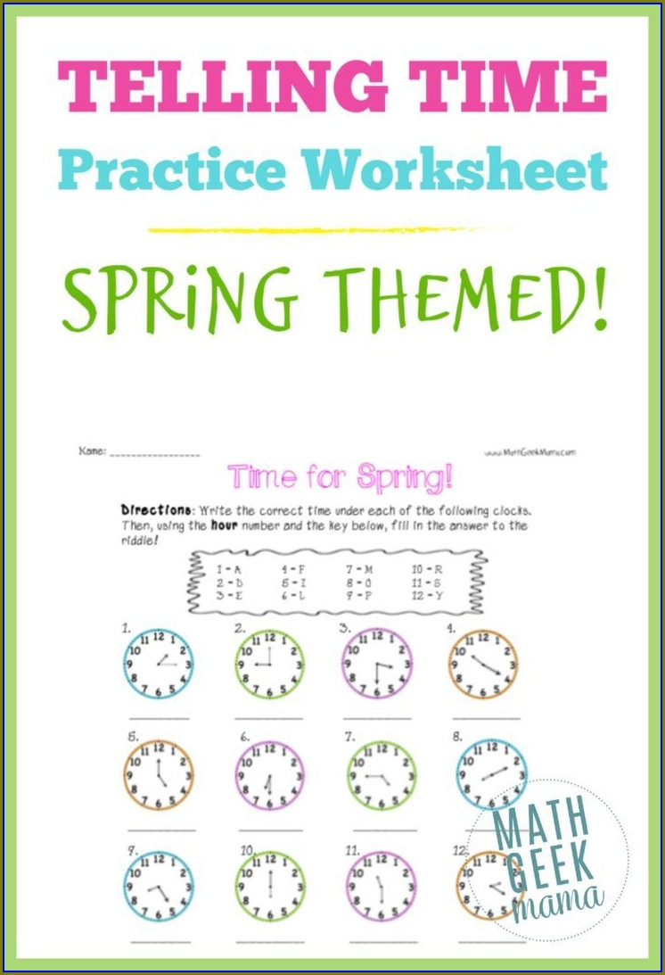 Free Printable Practice Telling Time Worksheets