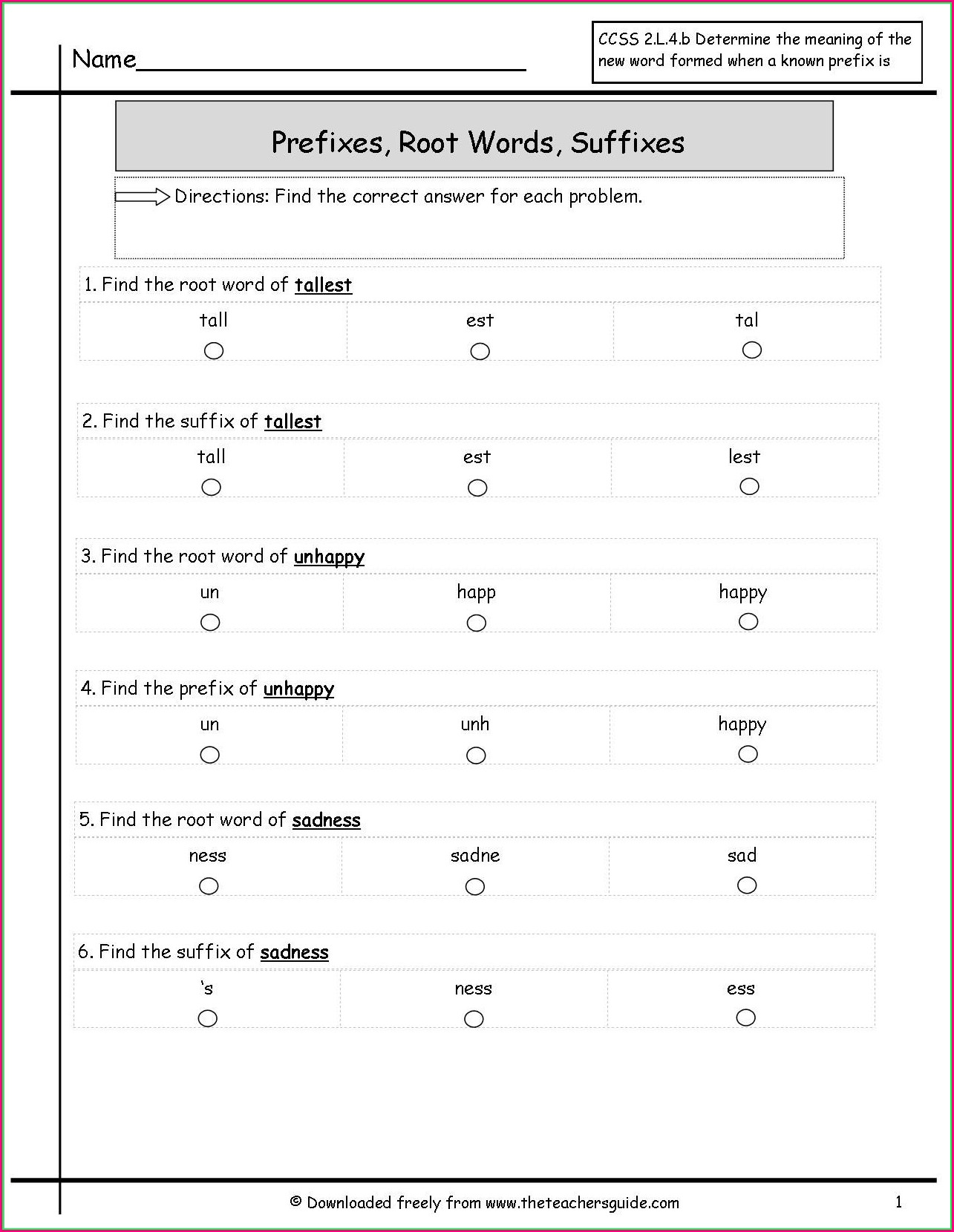 Free Printable Prefix Worksheet 3rd Grade