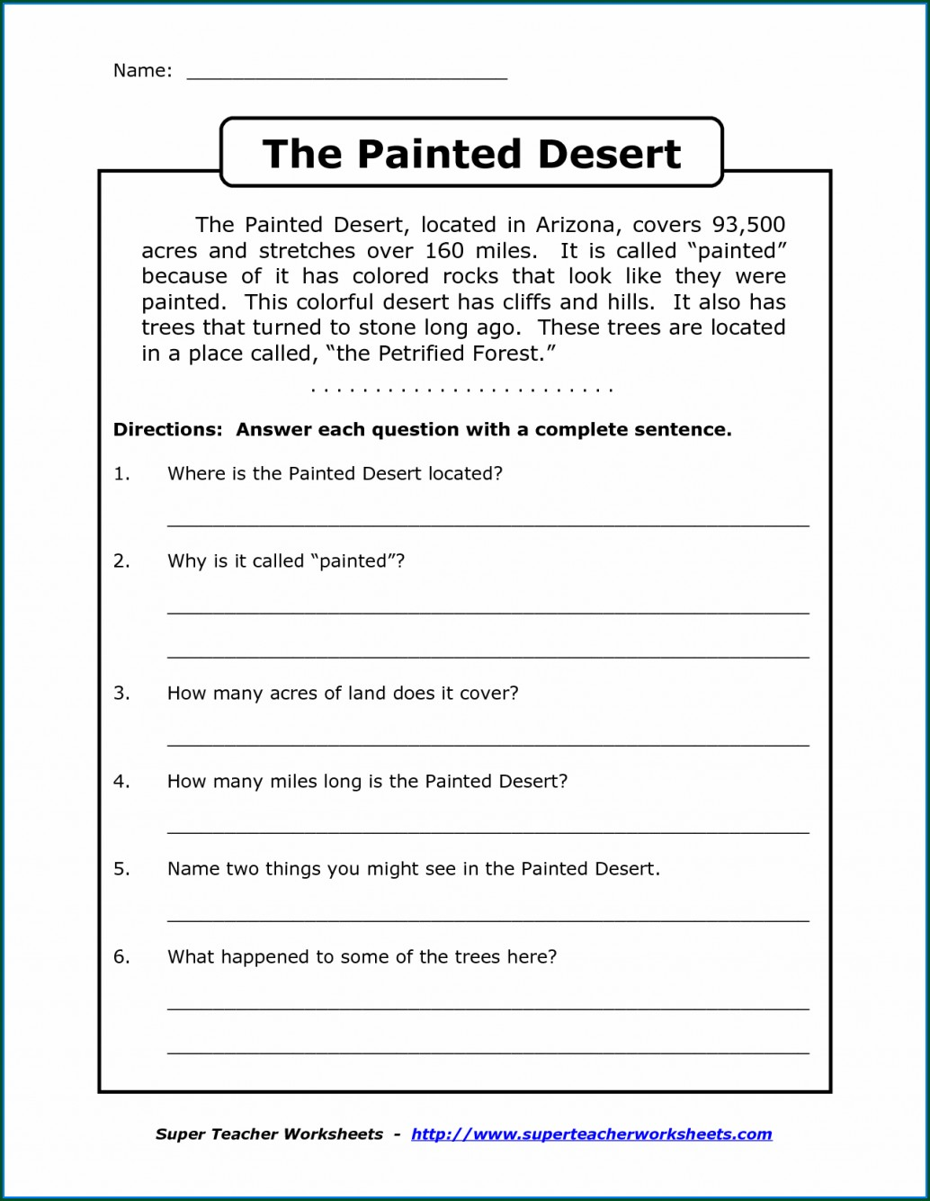 Free Printable Reading Comprehension Worksheets For 4th Grade