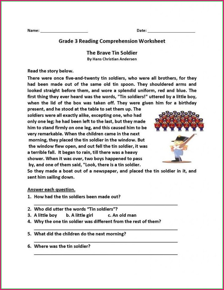 Free Printable Reading Comprehension Worksheets For Grade 5