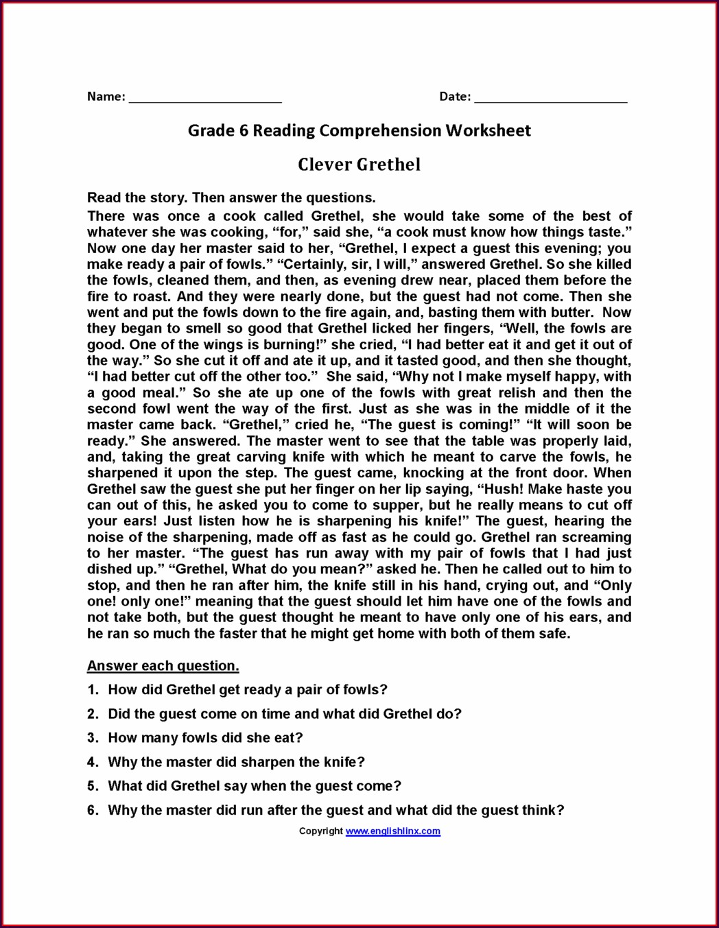 Free Printable Reading Worksheet 3rd Grade