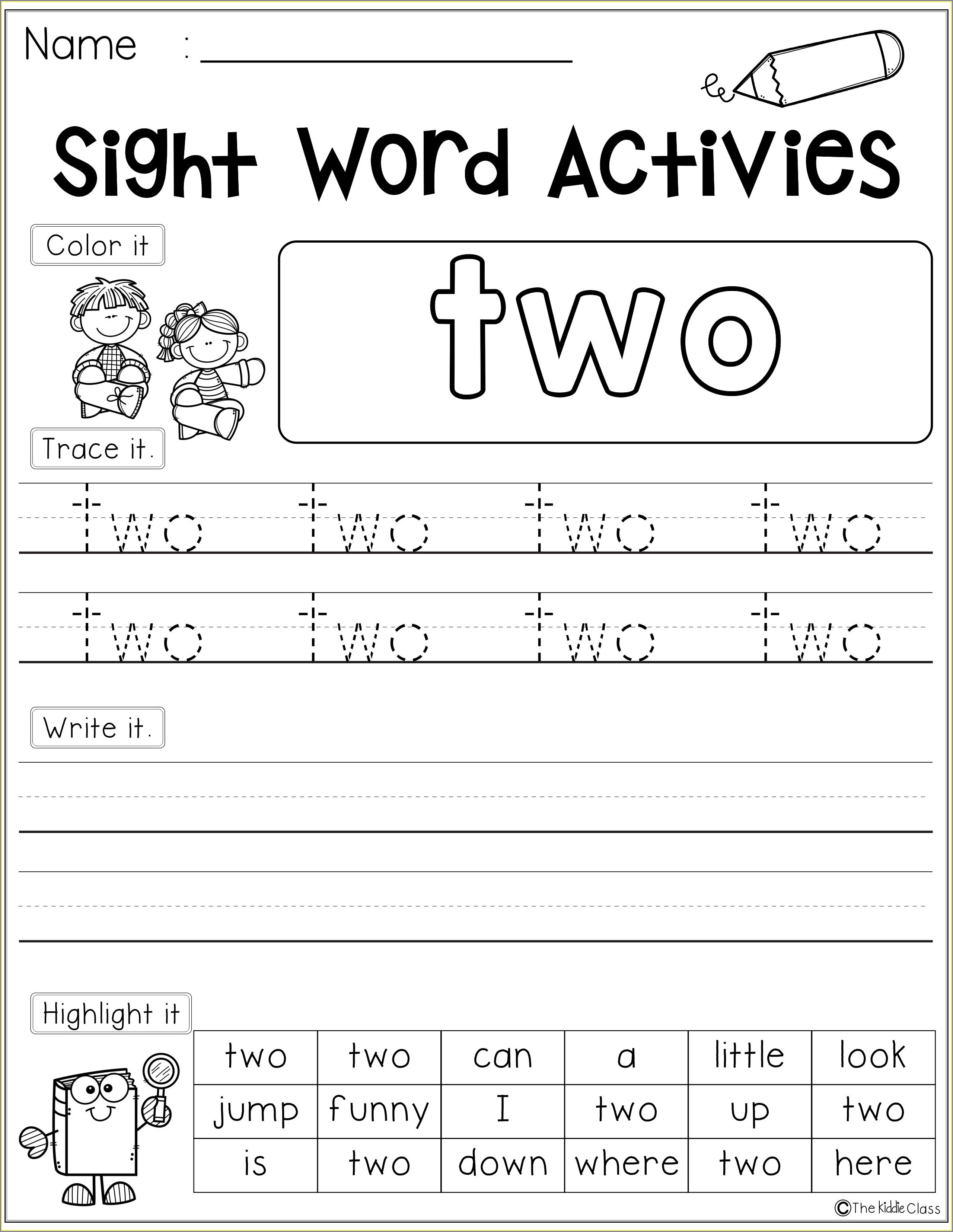 Free Printable Sight Word Worksheets For First Grade