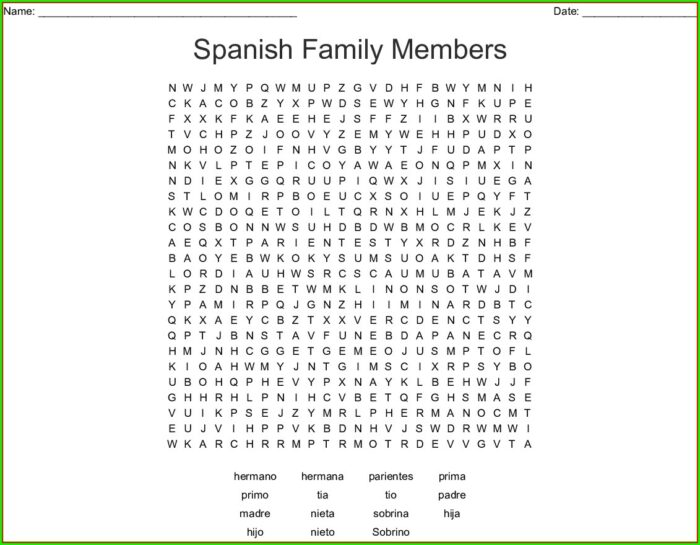 Free Printable Spanish Word Search Puzzles