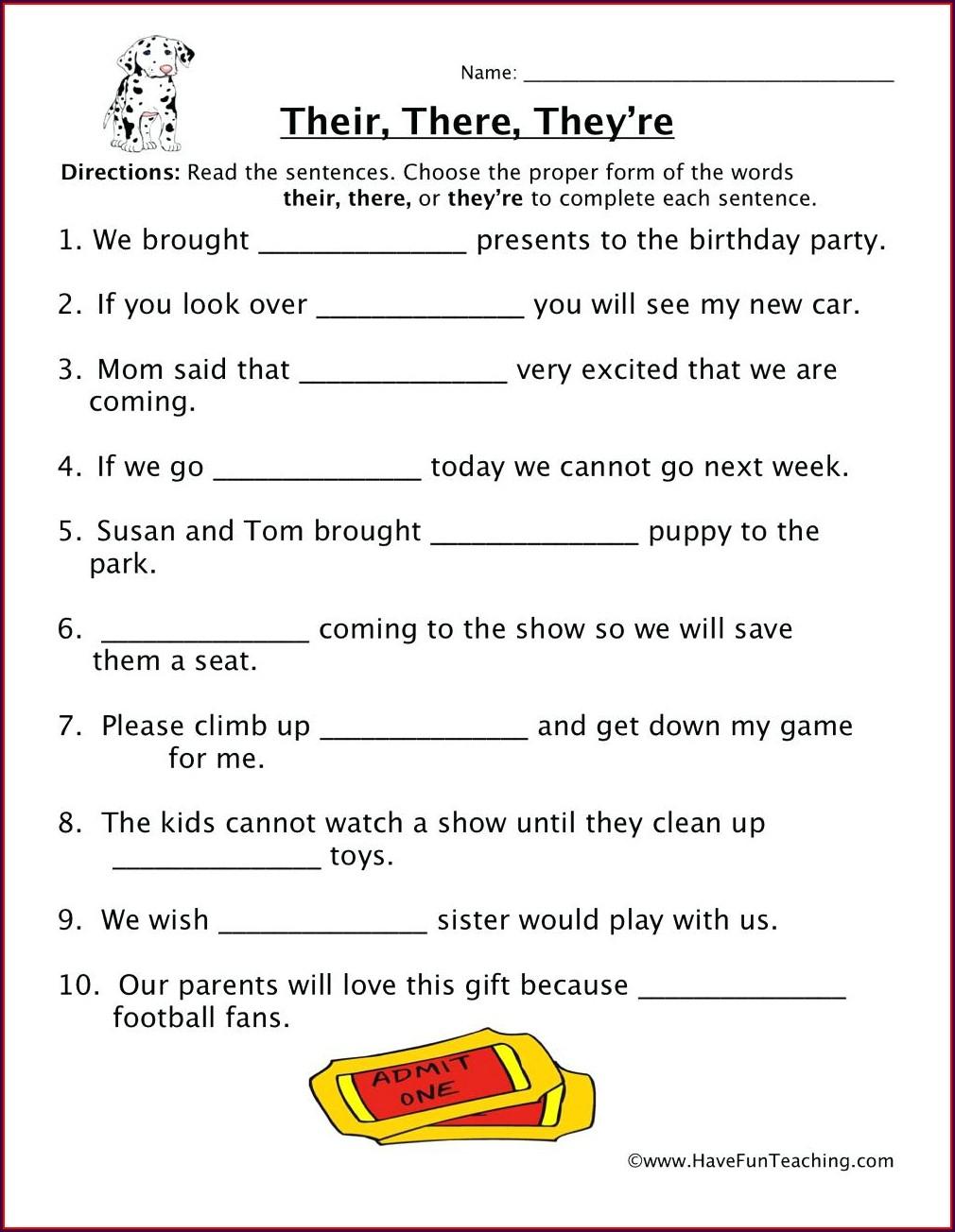 Free Printable Worksheet For Homophones