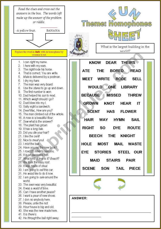Free Printable Worksheet On Homophones