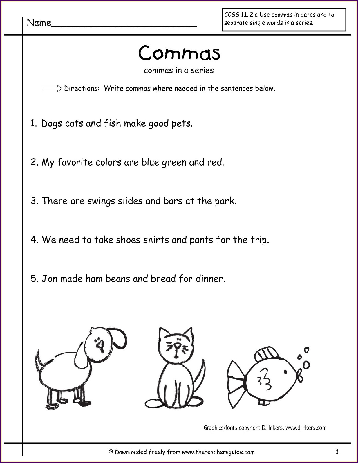 Free Printable Worksheets Using Commas In A Series
