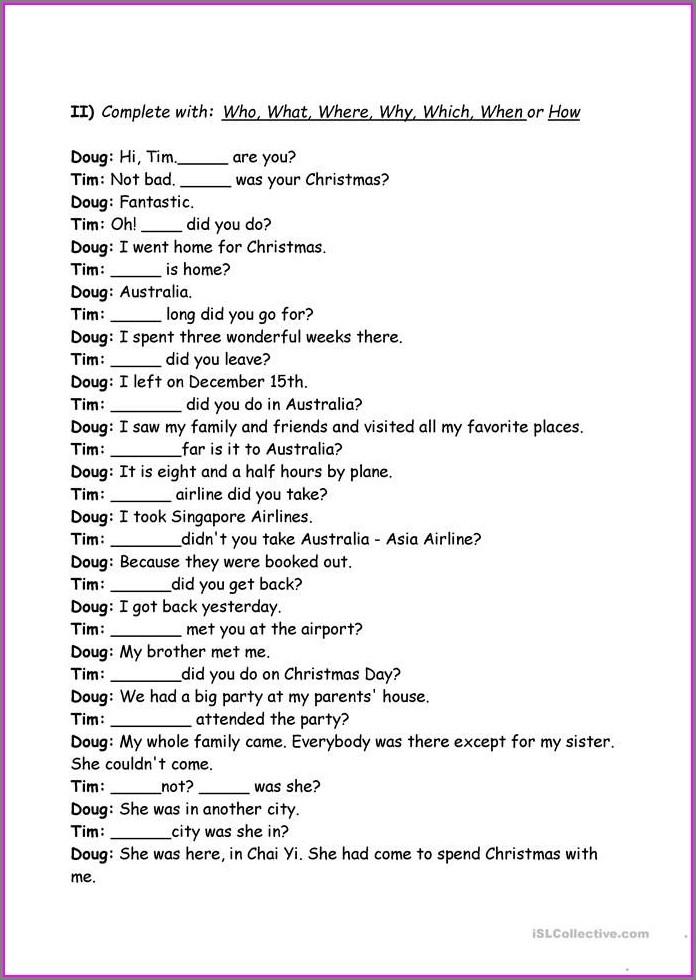 Free Printable Worksheets Wh Words