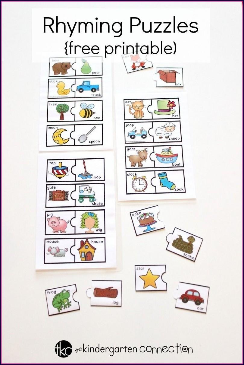 Free Rhyming Words Worksheet Preschool