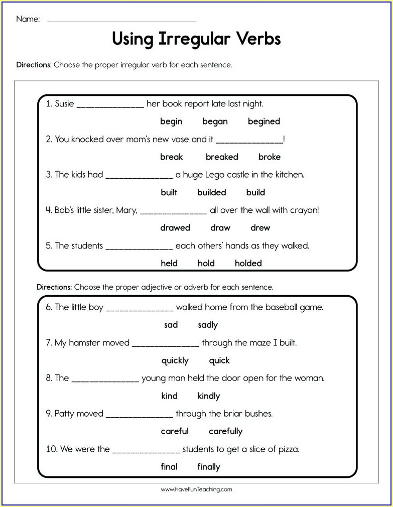 Free Verb Worksheets For 2nd Grade