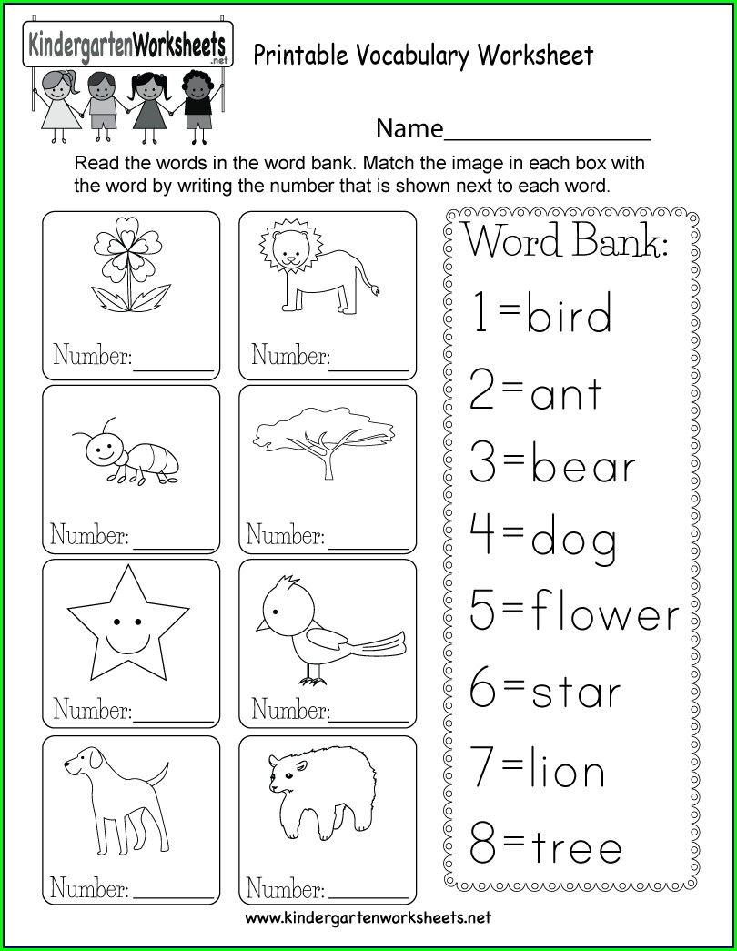Free Worksheet For Kindergarten English